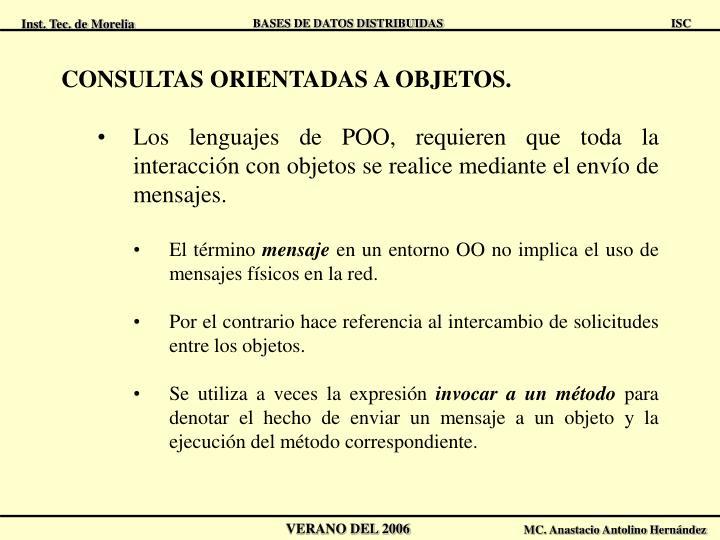CONSULTAS ORIENTADAS A OBJETOS.