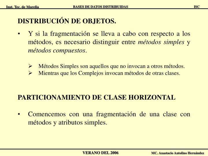 DISTRIBUCIÓN DE OBJETOS.