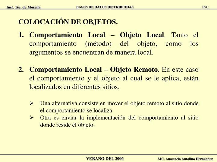 COLOCACIÓN DE OBJETOS.