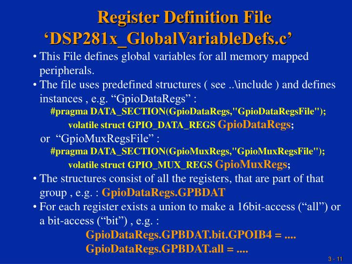 Register Definition File  'DSP281x_GlobalVariableDefs.c'