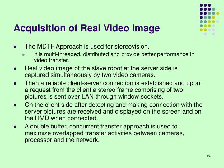 Acquisition of Real Video Image