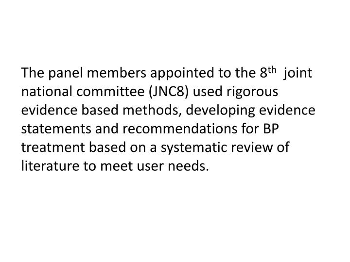 The panel members appointed to the 8