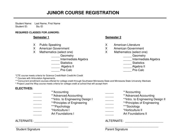 JUNIOR COURSE REGISTRATION