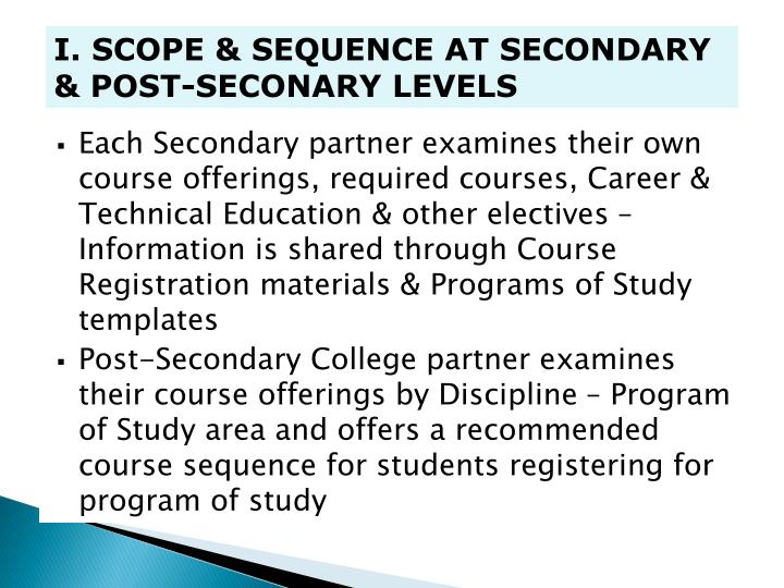 I. SCOPE & SEQUENCE AT SECONDARY & POST-SECONARY LEVELS