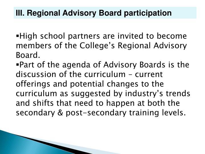 III. Regional Advisory Board participation
