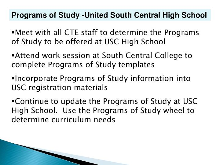 Programs of Study -United South Central High School