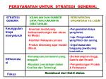 persyaratan untuk strategi generik