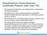 anewamerica s green business certificate program san jose ca