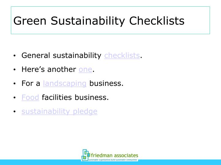 Green Sustainability Checklists