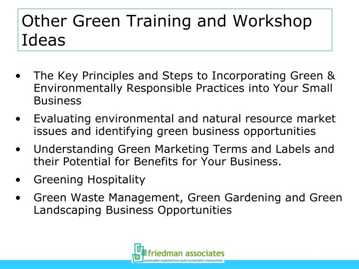 Other Green Training and Workshop Ideas