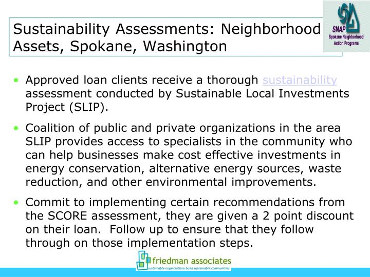 Sustainability Assessments: Neighborhood Assets, Spokane, Washington