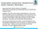 sustainability assessments neighborhood assets spokane washington