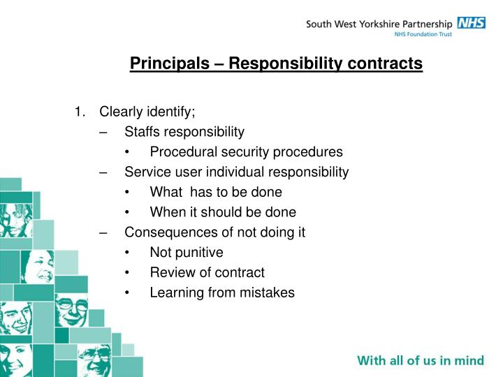 Principals – Responsibility contracts