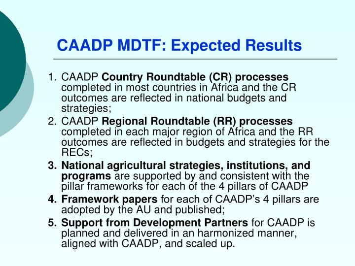 CAADP MDTF: Expected Results