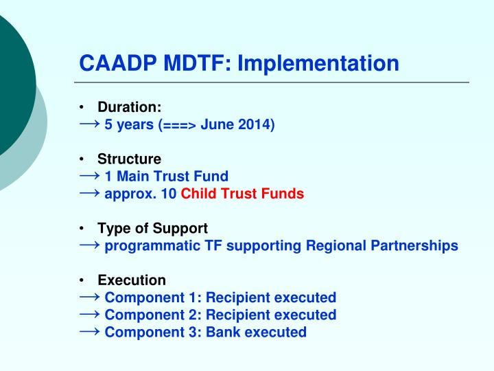 CAADP MDTF: Implementation