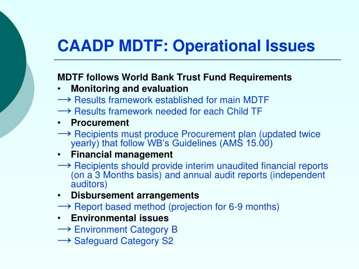 CAADP MDTF: Operational Issues