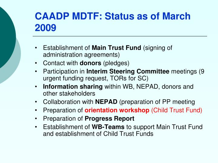CAADP MDTF: Status as of March 2009