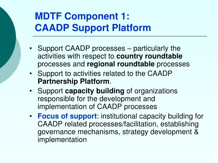 MDTF Component 1:
