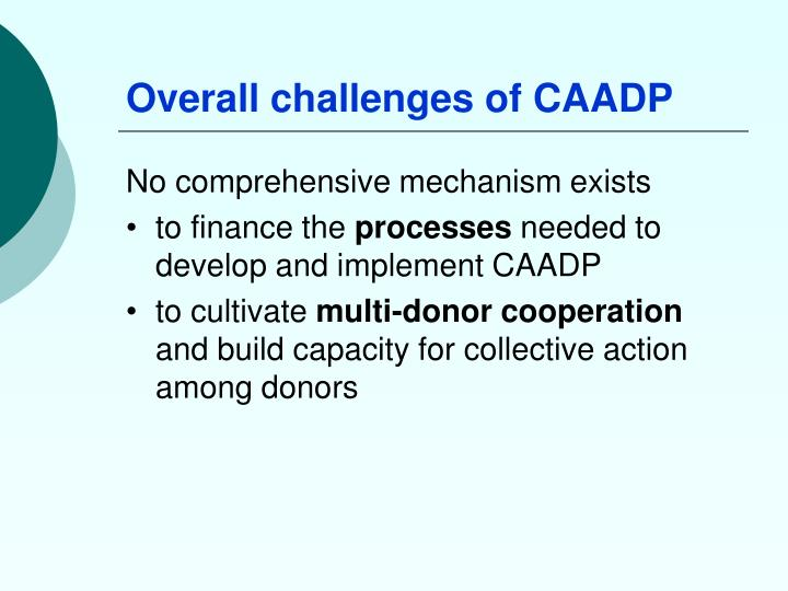 Overall challenges of caadp