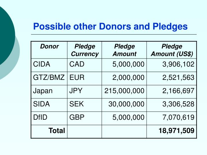 Possible other Donors and Pledges