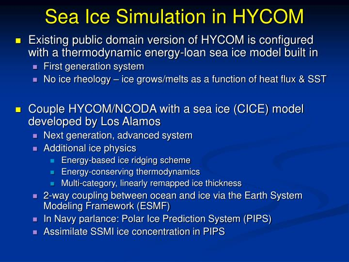 Sea Ice Simulation in HYCOM