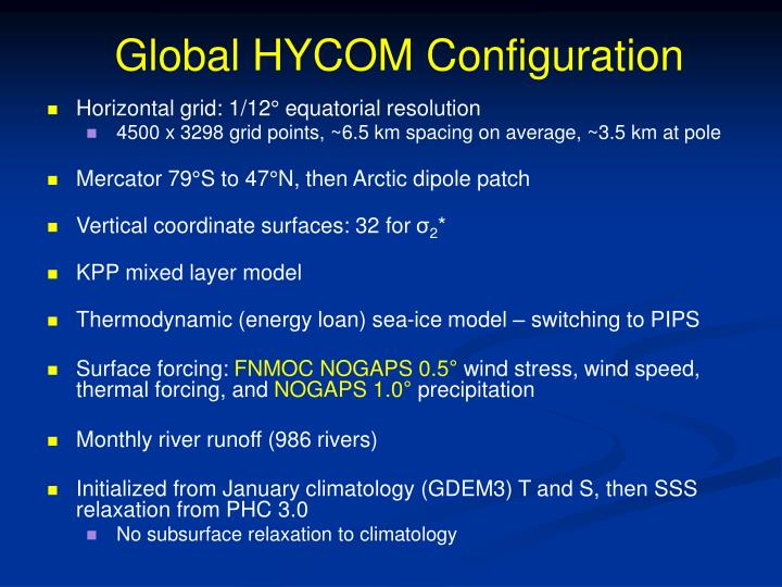 Global HYCOM Configuration