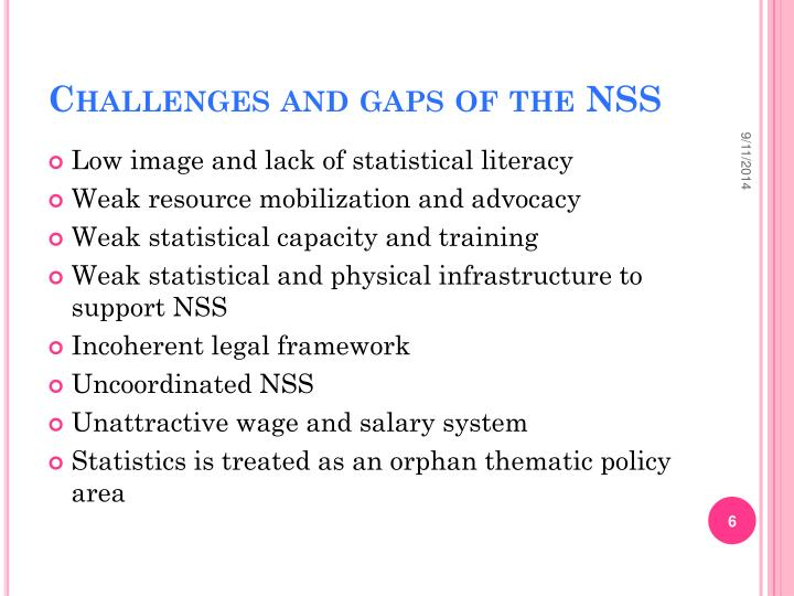 Challenges and gaps of the NSS