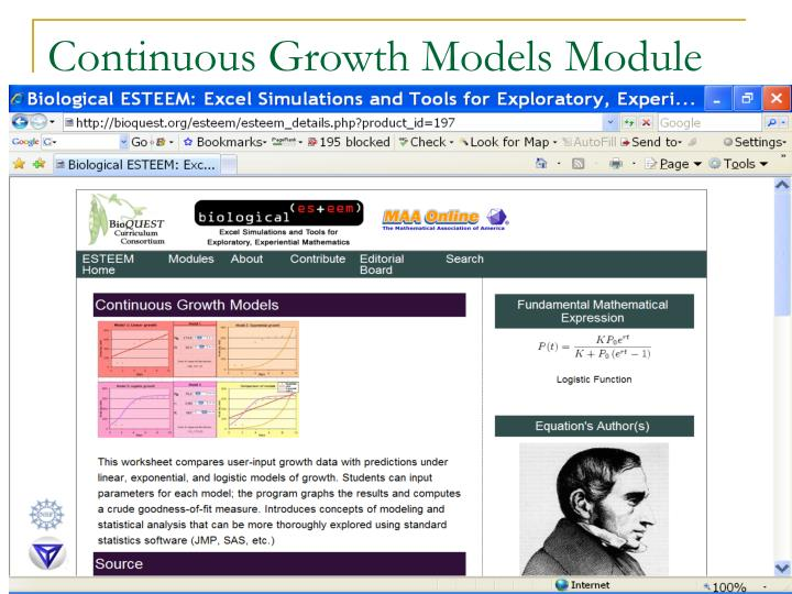 Continuous Growth Models Module