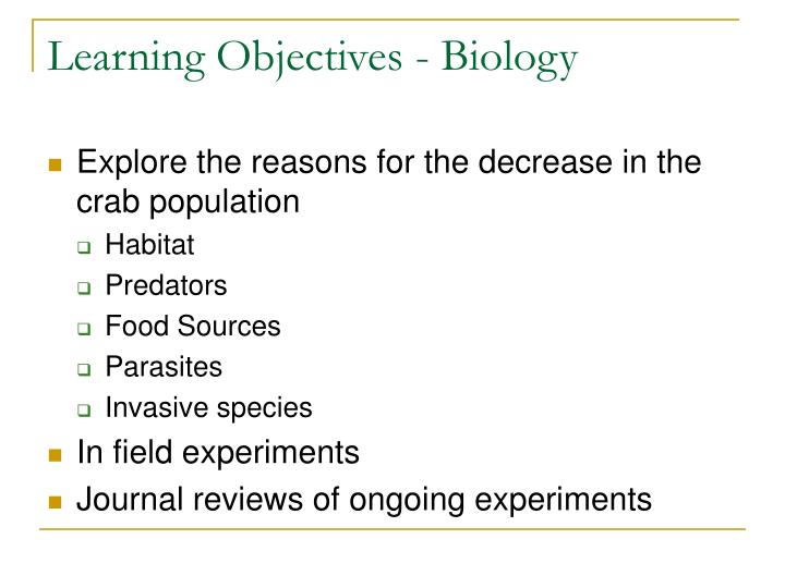 Learning Objectives - Biology