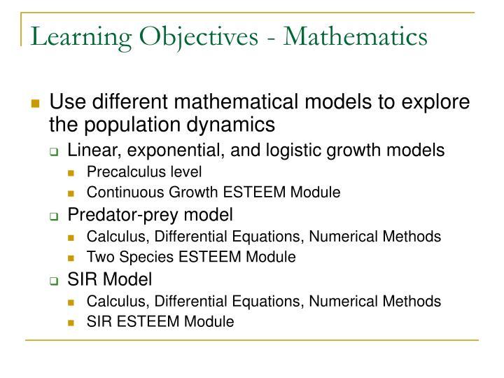 Learning Objectives - Mathematics