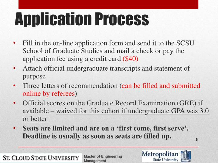 Fill in the on-line application form and send it to the SCSU