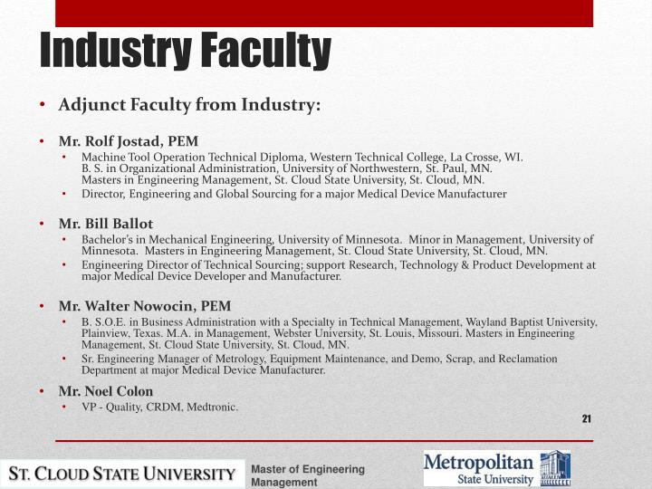 Adjunct Faculty from Industry: