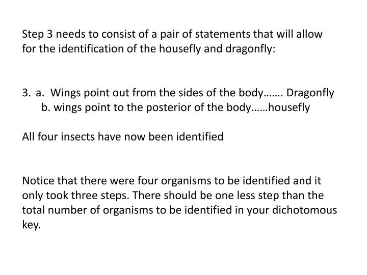 Step 3 needs to consist of a pair of statements that will allow for the identification of the housefly and dragonfly:
