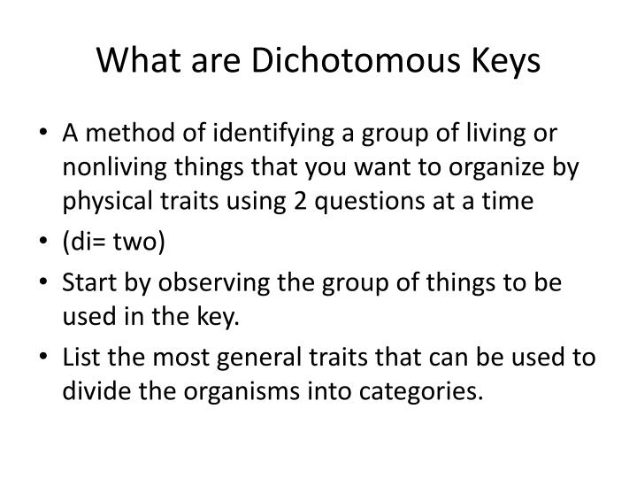 What are dichotomous keys