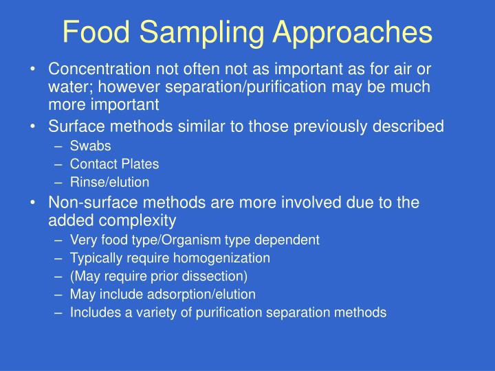 Food Sampling Approaches