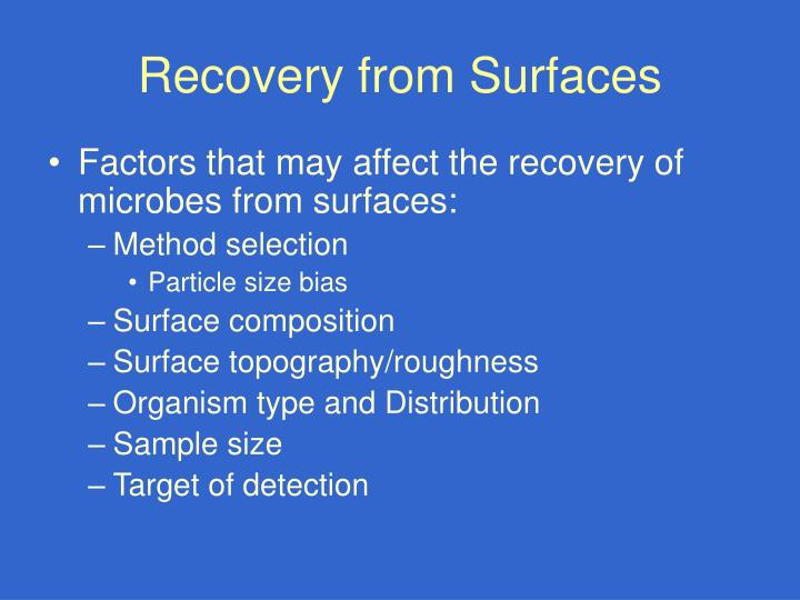Recovery from Surfaces