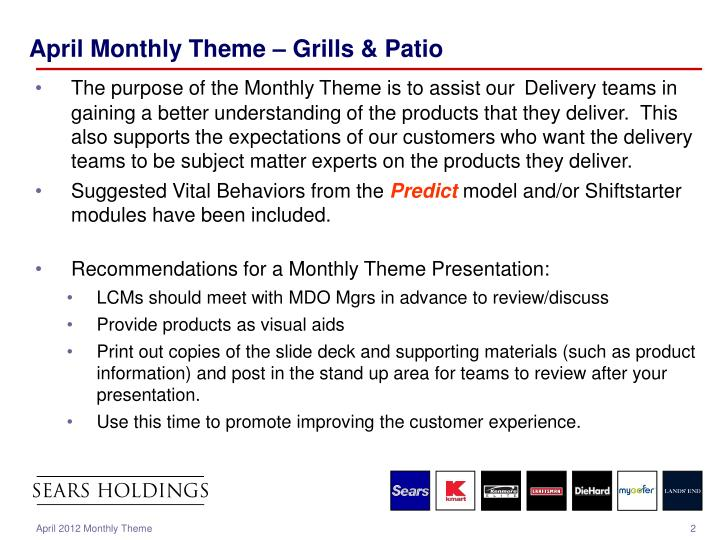 April monthly theme grills patio