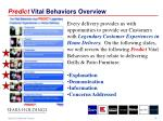 predict vital behaviors overview