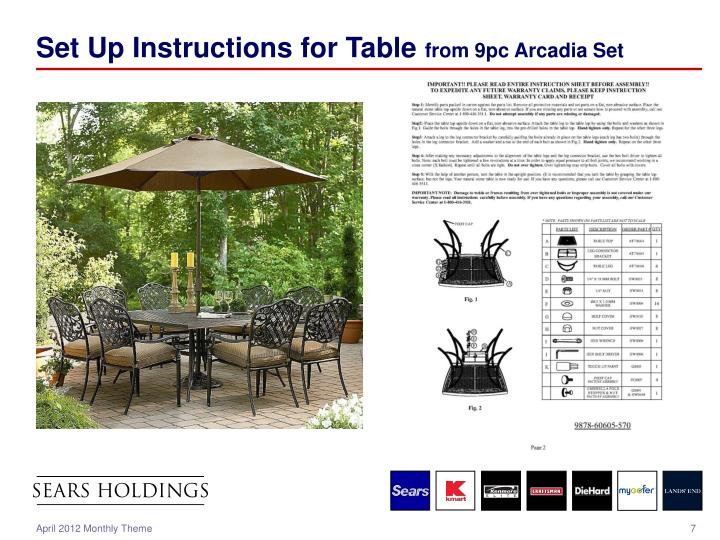 Set Up Instructions for Table