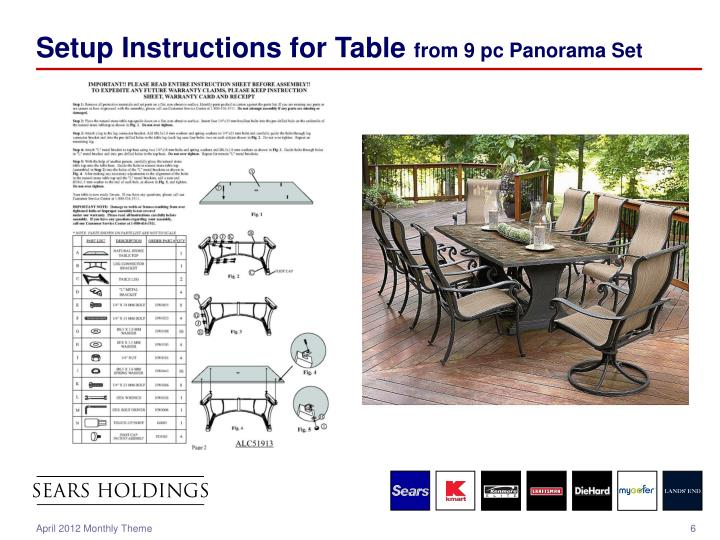Setup Instructions for Table