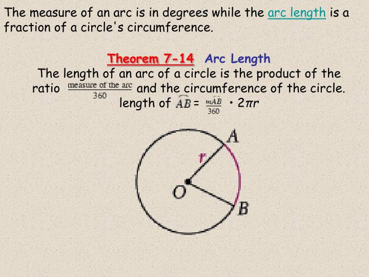 The measure of an arc is in degrees while the