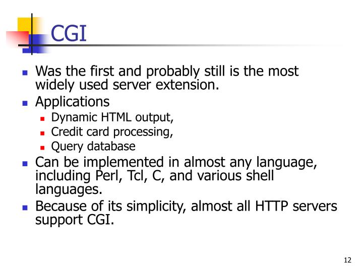 Was the first and probably still is the most widely used server extension.
