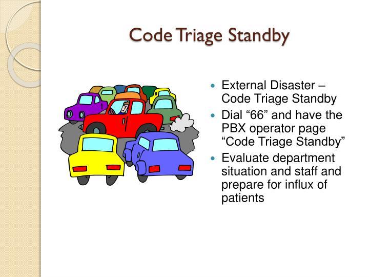 Code Triage Standby