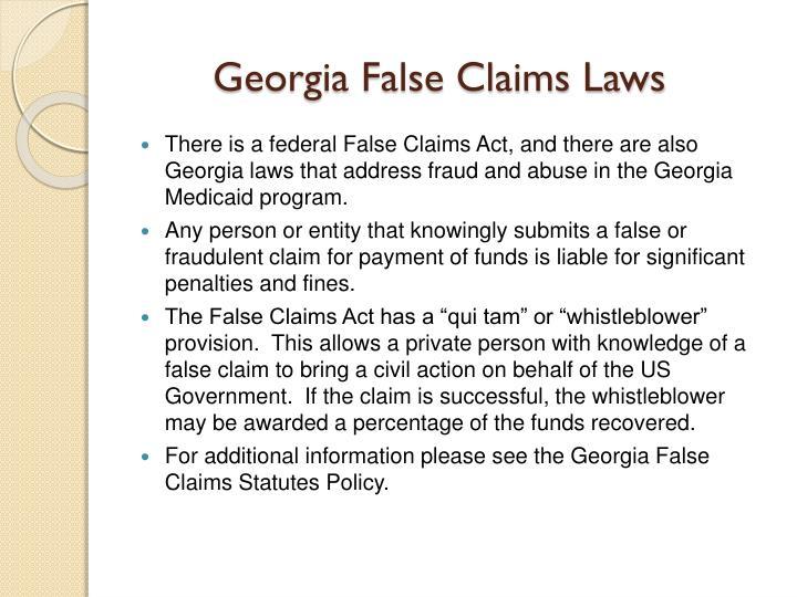 Georgia False Claims Laws