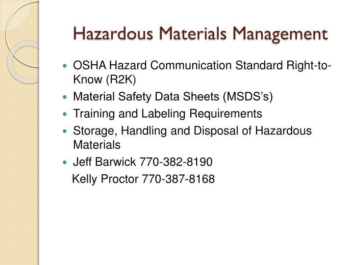 Hazardous Materials Management