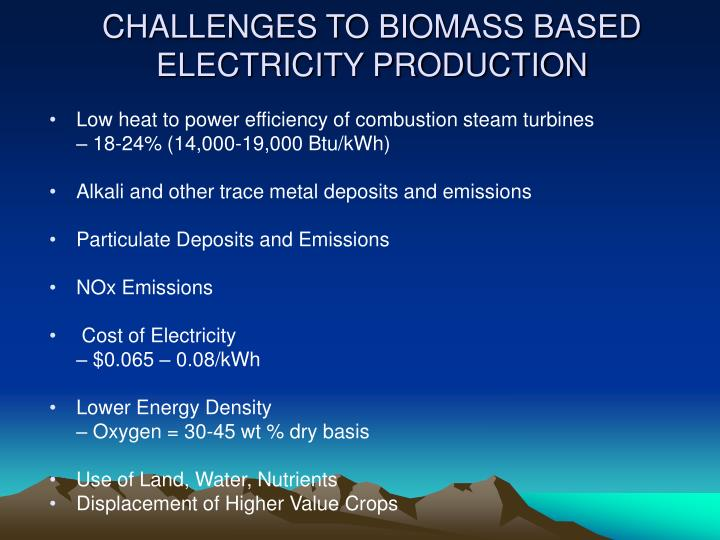 CHALLENGES TO BIOMASS BASED ELECTRICITY PRODUCTION