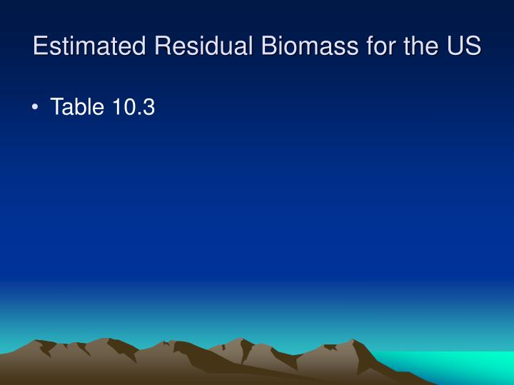 Estimated Residual Biomass for the US