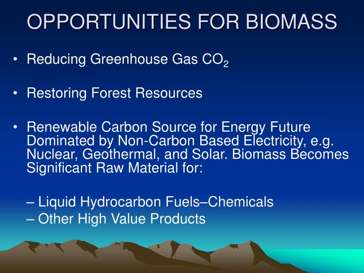 OPPORTUNITIES FOR BIOMASS