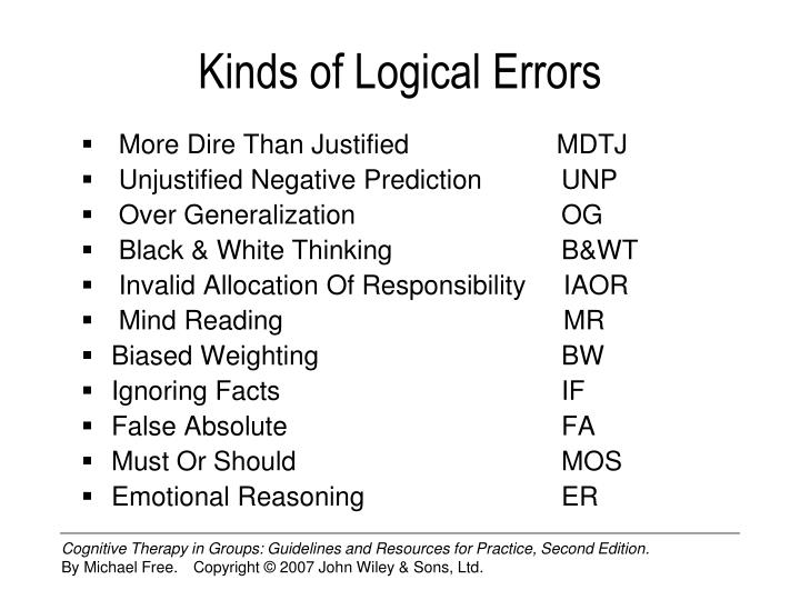 Kinds of Logical Errors