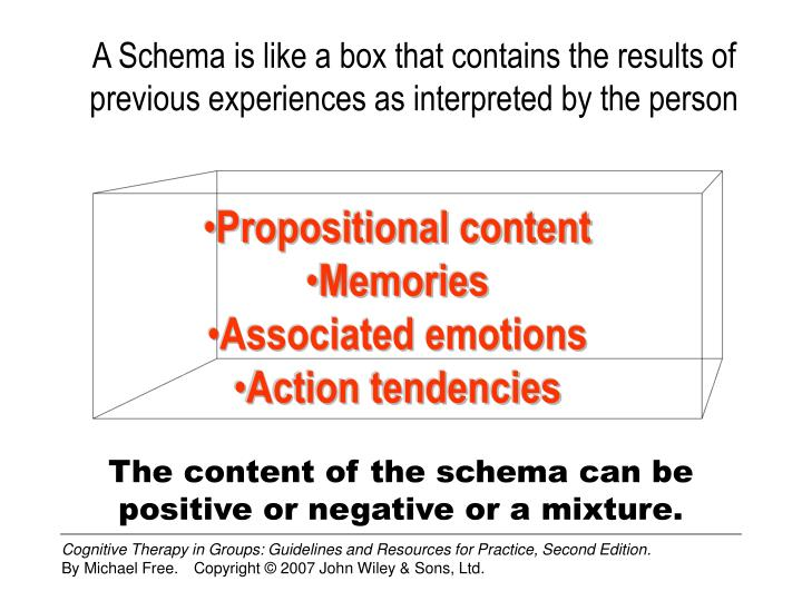 A Schema is like a box that contains the results of previous experiences as interpreted by the person